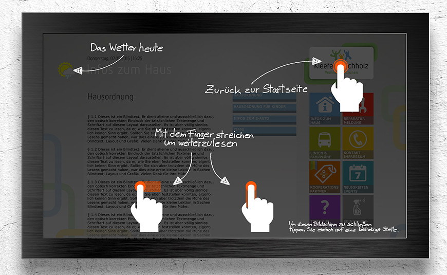 DasDigitaleBrett Navigation Nutzeroberflaeche Touchfunktion